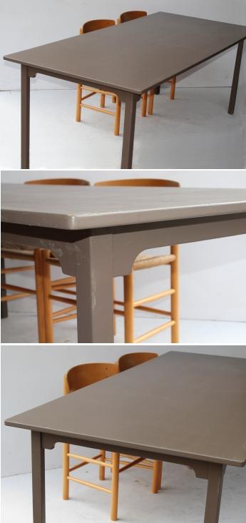 Gammelt rundt havebord med trælammeller og malede metalben. sælges ...